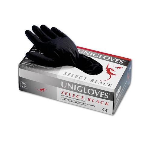 Unigloves Select Black Latexhandschuhe, puderfrei Gr.M, 100Stk